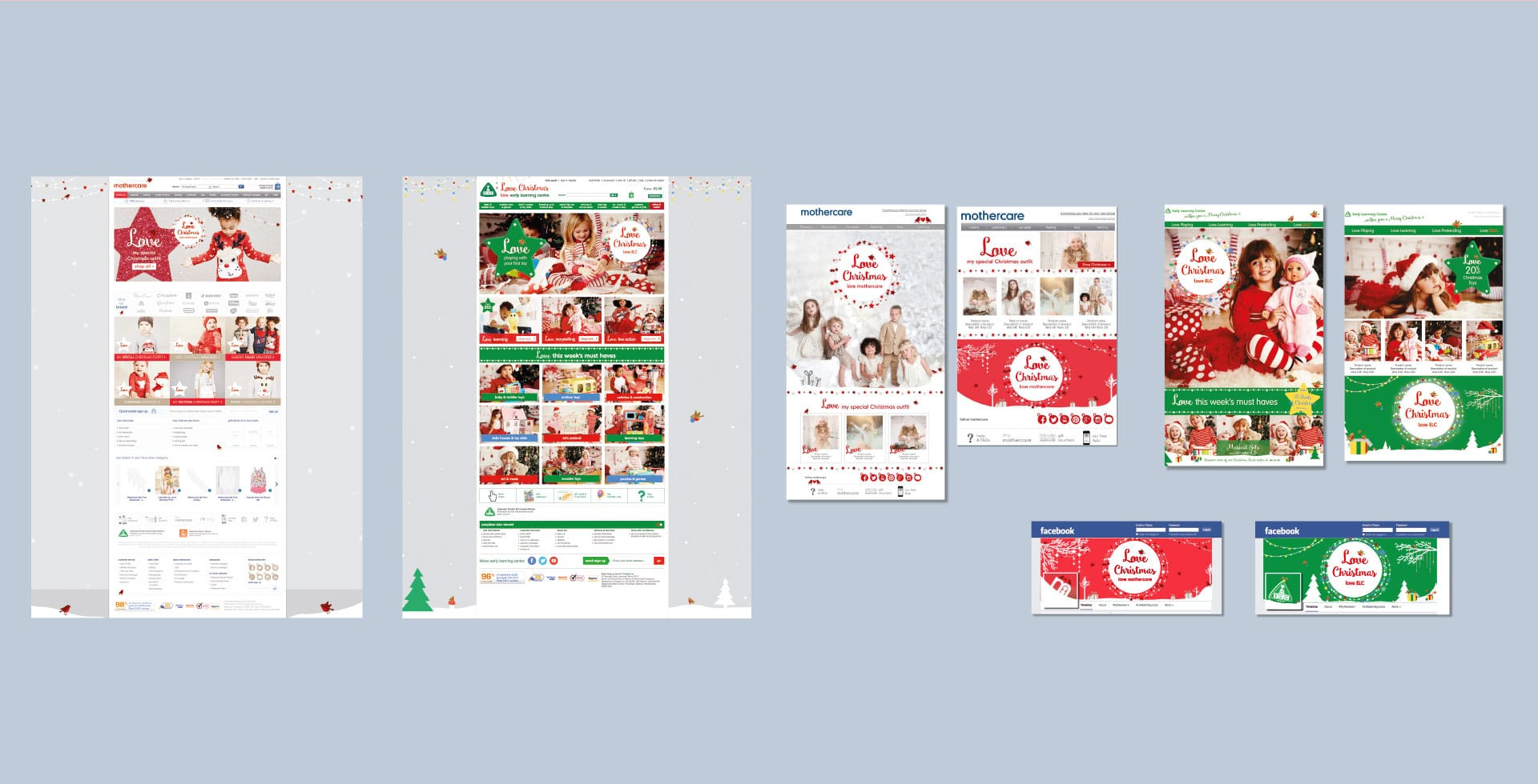 Mothercare ELC Christmas Website and social mock ups